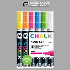 Molotow Chalk Fluor Set 6 Markers 4 mm TI50903101