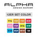 Alpha Design Marker 12er Color
