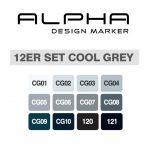 Alpha Design Set Cool Grey 12er